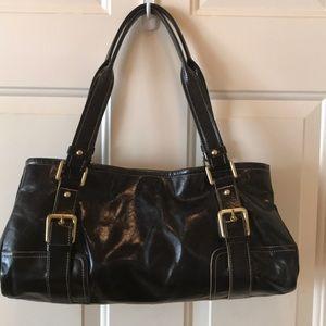 Kenneth Cole Black Leather Satchel Handbag